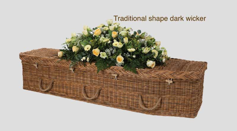 Dark wicker traditional shape coffin