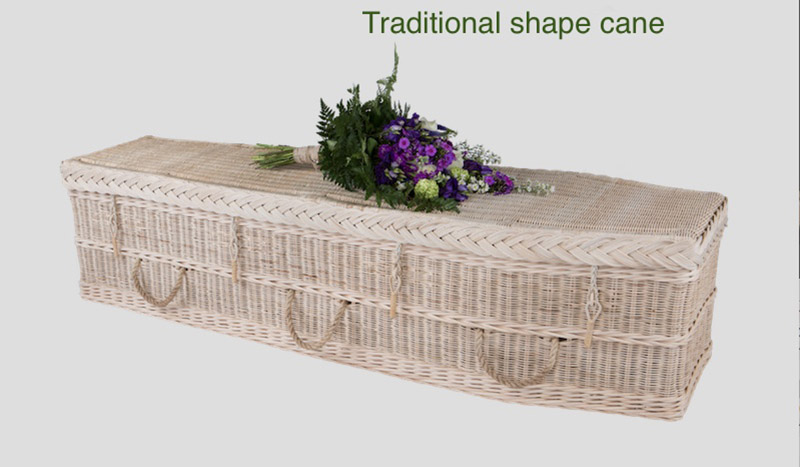 Traditional shape cane coffin