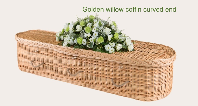 Golden round ended willow coffin