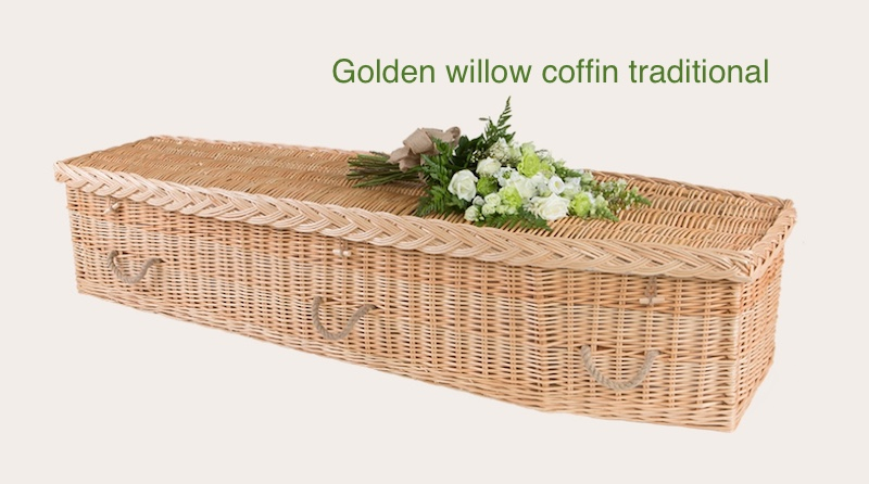 Golden willow coffin traditional shape