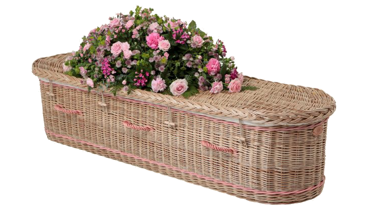 Round ended wicker coffin with pink roses
