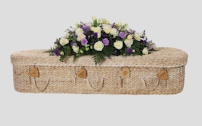 Wooden engraved hearts for coffin