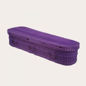 purple willow wicker coffin
