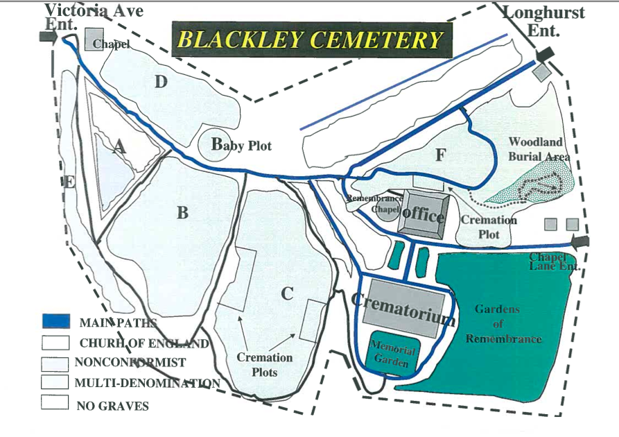 Woodland Blackley Cemetery map