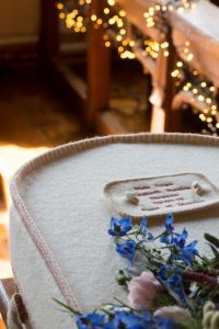 Pink wool coffin funeral photograph