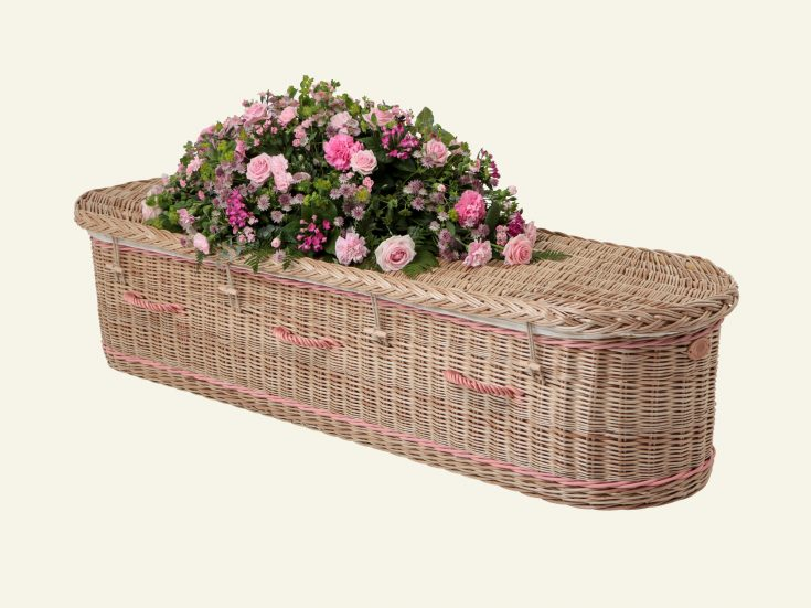 pink english willow coffin
