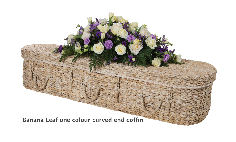 One colour banana leaf coffin curved end