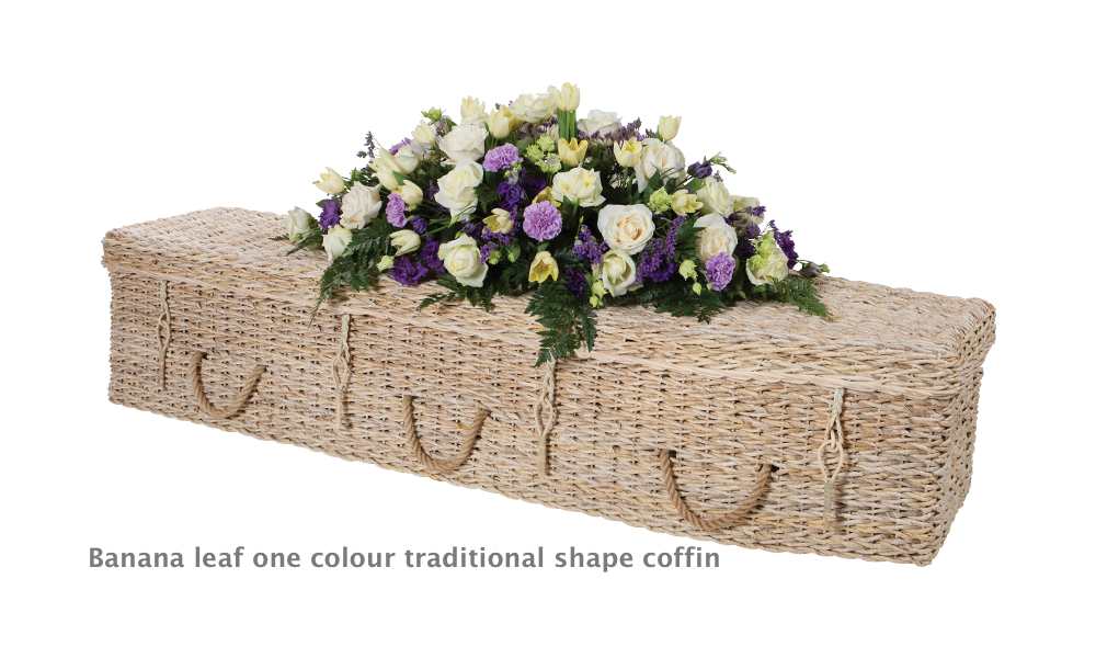 One colour banana leaf coffin traditional shape