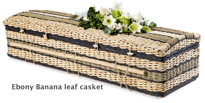 Ebony banana leaf casket